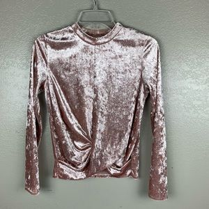 Takara Dusty Rose Crushed Velvet Mock Turtleneck